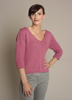 KK562 Cashmere V-neck Pullover with 3/4 Sleeves